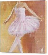 Pretty Ballerina Wood Print by Lourry Legarde