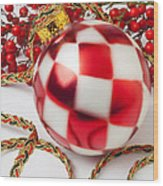 Pretty Christmas Ornament Wood Print