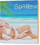 Pretty Female Tanning On The Beach Wood Print