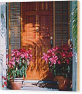 Pretty House Door In Key West Wood Print