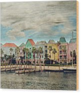 Pretty Houses All In A Row Nassau Wood Print by Kathy Jennings
