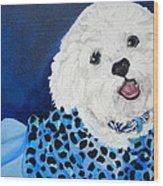 Pretty In Blue Wood Print by Debi Starr