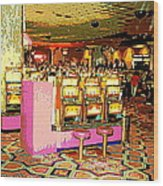Pretty In Pink Bar Stools And Slots Reserved For Spring Break High Rollers   Wood Print