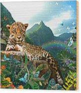 Pretty Jaguar Wood Print by Alixandra Mullins