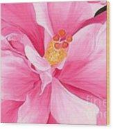 Dancing Hibiscus Painting Wood Print by Lisa Bentley