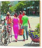 Pretty Pink Summer Dress Sunny Stroll Licari St Denis Scene Montreal Bike Racks And Flowers Cspandau Wood Print