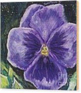 Pretty Purple Pansy Person Wood Print