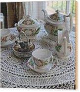 Pretty Tea Set Wood Print