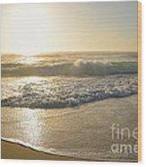 Pretty Waves At Glowing Sunrise By Kaye Menner Wood Print