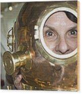 Pretty Woman In Copper Helmet Wood Print