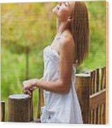 Pretty Woman On Balcony Wood Print