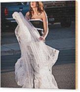 Pretty Woman With Gun Behind The Veil Wood Print