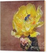 Prickly Pear And Bee Wood Print