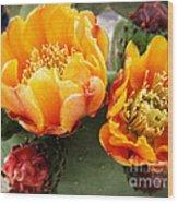 Prickly Pear Blossom Orange Wood Print