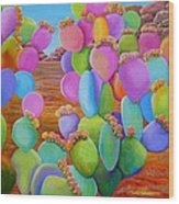 Prickly Pear Cactus-eye Candy Wood Print