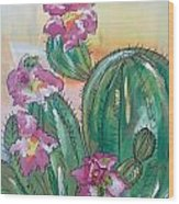 Prickly Pear Wood Print by Karen Carnow