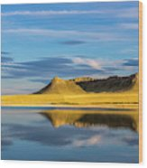 Priest Butte Reflects Into Wetlands Wood Print