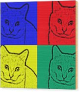 Primary And Green Cats Wood Print