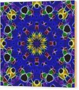Primary Colors Fractal Kaleidoscope Wood Print