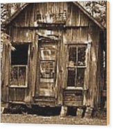 Primative Post Office Cabin In Sepia Wood Print