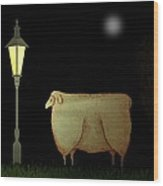 Primitive Sheep Midnight Snack By Lamplight Wood Print
