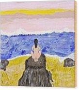 Primitive Woman Crouching Wood Print