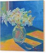 Primroses In Spring Light - Still Life Wood Print by Patricia Awapara