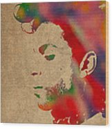 Prince Watercolor Portrait On Worn Distressed Canvas Wood Print