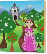 Princess And Castle Landscape Wood Print by Sylvie Bouchard