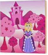 Princess And Pink Castle Landscape Wood Print