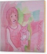 Princess With Dog Wood Print
