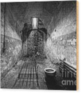Prison Cell Black And White Wood Print