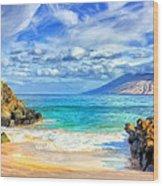 Private Beach At Wailea Maui Wood Print