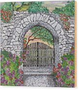 Private Garden At Sunset Wood Print