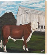 Prize Bull Wood Print by Michelle Joseph-Long