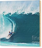 Pro Surfer Kelly Slater Surfing In The Pipeline Masters Contest Wood Print by Paul Topp