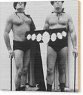 Pro Wrestlers Portrait Wood Print