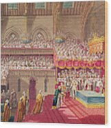 Procession Of The Dean And Prebendaries Of Westminster Bearing The Regalia, From An Album Wood Print