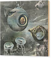 Professor Beebe In His  Bathysphere Wood Print