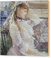 Profile Of A Seated Young Woman Wood Print
