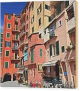 promenade and homes in Camogli Wood Print