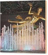 Prometheus Greek Statue In Rockefeller Ice Rink Wood Print