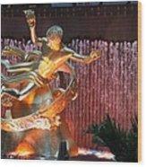 Prometheus Statue - Rockefeller Center Nyc Wood Print