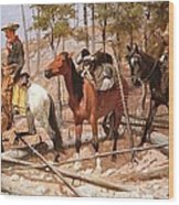 Prospecting For Cattle Range Wood Print