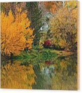 Prosser - Fall Reflection With Hills Wood Print