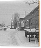 Prosser Winter Train Station  Wood Print