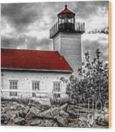 Protector Of The Harbor - Sand Point Lighthouse Wood Print