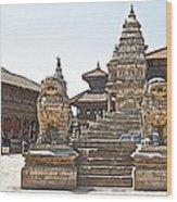 Protector Sculptures Near The Boundary Of Bhaktapur Durbar Square In Bhaktapur-nepal Wood Print
