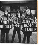 protesters outside a church of scientology Vancouver BC Canada Wood Print by Joe Fox