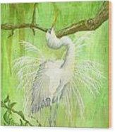 Proud Egret Wood Print